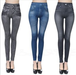 Barato Jeans Grátis Para Senhoras-Real PocketPrint Leggings Jeans Cheap Ripped Denim Spandex Graffiti Fitness Legging para as mulheres Calças Leggings Sexy Frete Grátis