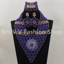$enCountryForm.capitalKeyWord Australia - 2019 New Royal Blue Gold african beads Wedding Statement Jewelry Set for Nigerian Brides Women Costume Crystal Necklace Set Free Shipping