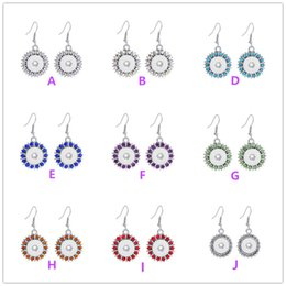 blue colour earrings 2019 - 2016 NEW 8 Colours Bling Crystal Interchangeable Snap Buttons Earrings Fit 12 mm Ginger Snap Earring Jewelry