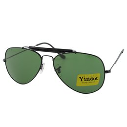 8f16a3434b4 10pcs New Fashion Men Sunglasses Black Frame Green UV400 High Quality Brand  Yindot Outdoor Sport Sun Glasses Pilot Eyewear With Box Case