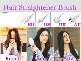 Discount brush dries straightens hair - Hair Straightener Flat Irons HQT-906 Hair Iron Straightening Brush Hair Styling Tool Comb With LCD Temperature Control U