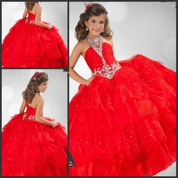 $enCountryForm.capitalKeyWord NZ - New Arrival 2016 Halter Organza Red Little Girls Pageant Dress with Crystal Beadings Ritzee Girls Ball Gown Prom Dress for Kids