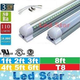 Venta al por mayor de Las luces más frescas llevaron el tubo T8 luces los 1ft los 2ft los 3ft los 4ft los 5ft los 6ft los 8ft integraron los tubos ligeros llevados AC 110-240V UL DLC