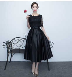 Discount thin tea - Real Simple Evening dresses 2017 new styles black medium length thin elegant short banquet dress summer prom party dress