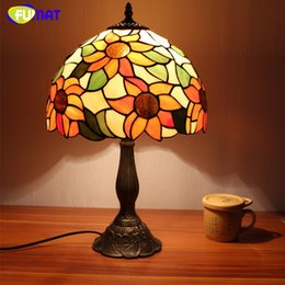 fuamt stained glass table lamps vintage sunflower desk lamp living room bedside lamp brushed nickel glass lamp light
