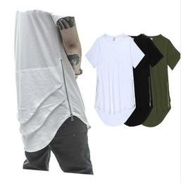 Barato Estilo Ocidental Da Camisa Do Kanye T-Olive Side Zipper Extended Mens Hip Hop Hiphop Swag Long Casual T Shirt Top Tees Justin Bieber Style Roupas Roupas KANYE WEST