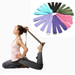 Chinese  Wholesale-New Multi-Colors Women Yoga Stretch Strap D-Ring Belt Fitness Exercise Gym Rope Figure Waist Leg Resistance Fitness Bands Cotton manufacturers