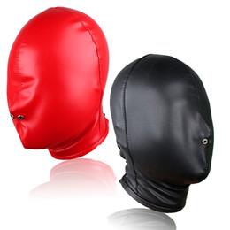 Новое качество бондаж ПВХ фетиш капюшон черный или красный полностью закрытый головной убор маска для взрослых игровой продукт