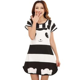 cd1fe028e2 Wholesale-Cute Women Casual Cartoon Nightwear Sleepwear Short Sleeve Sleep  Dress