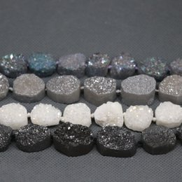 $enCountryForm.capitalKeyWord Australia - 17pcs Strand Natural Druzy Agate Beads, Dyed Gems Stone Point Pendant, Crystal Quartz Drusy Geode Drilled Fashion Jewelry Necklace Connector