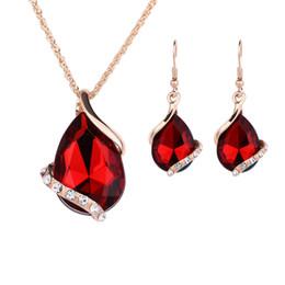 $enCountryForm.capitalKeyWord UK - Hot New Fashion Water droplets Crystal Rhinestone CZ Necklace Earrings Jewelry Sets Wedding party Accessories Bridal Jewelry Set HJ138