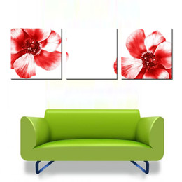 Fashion Art Picture Big Red Flowers Picture Home Decoration Print On Canvas  Wall Art Painting On Canvas For Living Room
