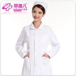 NursiNg wear cottoN online shopping - Long sleeved white coat nurse HD pharmacy work clothes DaoYi can t afford to wear the ball
