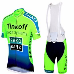 jersey cycling saxo green 2019 - Fluorescent Tinkoff Team Cycling Suit Saxo Bank Summer Cycling Jersey Sets Ropa Ciclismo Breathable Bikes Racing Clothes