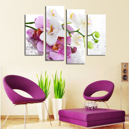 Discount modern abstract flower paintings - 4 Pcs Pink Flowers Wall Art Picture Modern Home Decoration Living Room or Bedroom Canvas Print Painting Wall picture