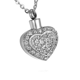 $enCountryForm.capitalKeyWord UK - Lily Urn Necklaces Cremation Jewelry White Diamond Double Heart Memorial Pendant Stainless Steel For Ashes with gift bag
