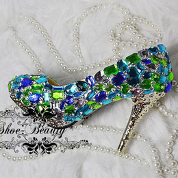prom dresses blue diamonds Canada - Beautiful Blue Crystal Wedding Dress Shoes Diamond Rhinestone Bridal Dress Shoes Glitter Party Dancing Prom Shoes