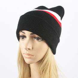 Fallen Hats Australia - 2016 Fall Winter New Women's Fashion Striped Knitted Hat Hedging Cap Woolen Hats Knitting Warm Skullies Beanies Caps For Mens