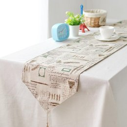 bz384 american country tower customized cotton ancient british style decoration gift linen table runner cheap customized table runners