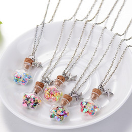 Cork Necklaces NZ - Hot Star Glass Bottle With Colorful Star Filled Wishing Bottle Pendant Necklace Cork Drifting Starfish Fit Metal Chains Necklace Jewelry