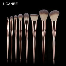 Base De Sombra De Ojos Baratos-8pcs Rose Golden Metallic Pinceles de Maquillaje Set Grasp Brush Base Profesional Powder Eyeshadow Contour Pinceis Kit de Ucanbe