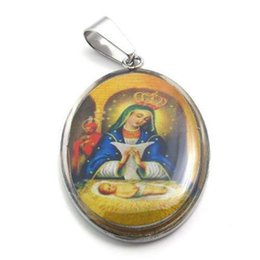 "catholic saints pendants 2019 - 316L Stainless Steel Religious Jesus Mary Baby Saint Jude Catholic Picture Charm Pendant Chain Necklace W 20"" Beads"