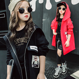 12 Jackets Canada - Girls jacket coat autumn black red hooded windbreaker size 6 7 8 9 10 11 12 13 years old children clothing tide long outerwear