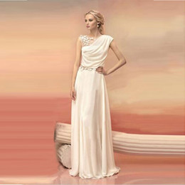 Wholesale Long Evening Dresses Bride Princess Banquet Lace Chiffon Prom Dress Greek Goddess Elegant Backless Plus Size Formal Dress