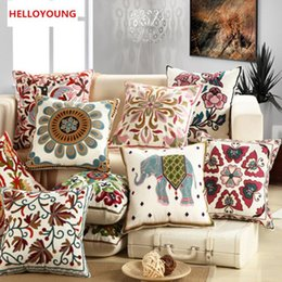 BZ022 Decorative Embroidery Sofa Cushion Cover Throw Pillows Covers  45cm*45cm Without Filling Soft Towel Embroidery Flowers Sofa Cushion Filling  Promotion