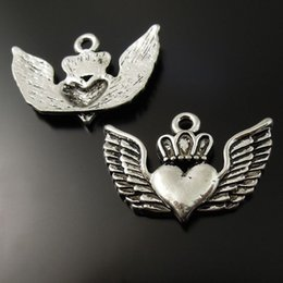 wholesale gold plated jewelry findings UK - 25PCS Pack Antique Silver Zinc Alloy Wings Heart Pendant Charm Jewelry Finding 27*25*2mm 37133 jewelry making