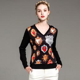 Sexy V-Ausschnitt mit langen Ärmeln der neuen Ankunftsfrauen gedruckt gestrickte Patchwork-Mode strickt T-Stücke Blusen in 2 Farben im Angebot
