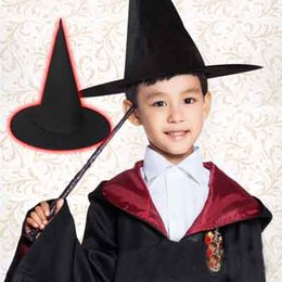 black magic hat NZ - Halloween Black Cloth Pointed Hat Harry Potter Magic cap and Witch hats Perfect Party Hats wholesale