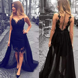 $enCountryForm.capitalKeyWord NZ - 2017 Black Lace Sheer Neck Short Evening Dresses With Tulle Detachable Train Illusion Back Appliqued With Beads High Low Formal Gowns EN1024