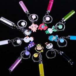 Flashlight Animal NZ - Mini Cartoon Bell Ring LED Light Flashlight Keychain Cute Key Chain Key Ring Animal Key Holder Totoro Fashionable KeyChains keychain2016