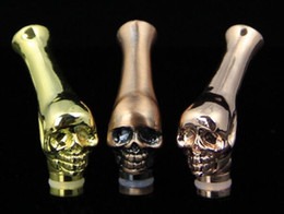 Discount long curved drip tip vape stainless steel 510 drip tip metal mouthpieces skull head long curved 510 driptips for e cig atomizer kanger tank rda vape rdta