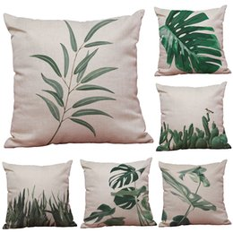Large Leaf Plant Pattern Linen Cushion Cover Home Office Sofa Square Pillow  Case Decorative Cushion Covers Pillowcases Without Insert(18*18)