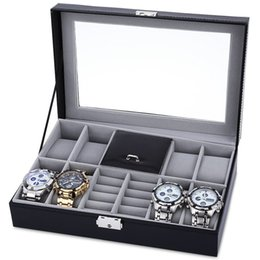 online shopping Grids Mixed Grids Watch Case Luxury Jewelry Decoration Storage Display relogios Box PVC Watch Box Case Leather Gift Boxes
