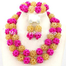 $enCountryForm.capitalKeyWord Canada - Fashion fushia gold African Beads Balls Party Necklace Set Nigerian Wedding Jewelry Set for women gift Free Shipping