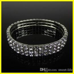 7dae0f12ea9 Silver Stretch cuff bracelet online shopping - Hot Sale Cute Row Rhinestone Stretch  Bangle Wedding Bracelets