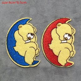 $enCountryForm.capitalKeyWord NZ - 2016 4cm * 6.5CM Cartoon Moon Bear Badge embroidered Appliques DIY accessory garment bag hot paste patch