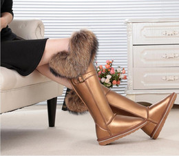 Boots Real Fox Canada - Fashion Style big girls fox fur tall thigh winter snow boots for women winter shoes real leather lady long boots for party In elevator shoes
