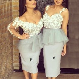 Barato Peplum Vestido De Festa De Manga Comprida-2017 Peplum Cocktail Party Dresses 3D Floral Appliques V Neck Illusion Manga comprida Sweethear Spaghetti Straps Bainha Silver Tea Length Gown