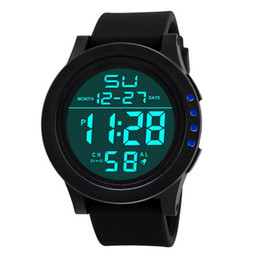 Chinese  Fashion Luxury Brand Watch Adult Student Electronic Wristwatch Large Screen LED Sports Waterproof Watch Chronograph Watches Leather Strap manufacturers