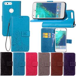 Discount pixel pocket - Flower print skin Flip wallet leather case Stand cover card holder cases For Google Nexus 6 6P 5 5X Pixel 2 XL 50pcs