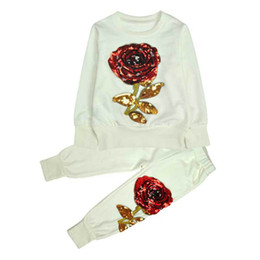 $enCountryForm.capitalKeyWord Canada - 2016 New Winter Style Family Matching Outfits Mother And Daughter Long Sleeve Rose Floral Sweatshirt+Pants 2Pcs Suit