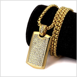 mens titanium chains Canada - Titanium Steel Hipsters Punk Hip Hop Jewelry 24K Gold Plated Rhinestone Dog Tag Pendant Long Chain Necklace For Mens Women
