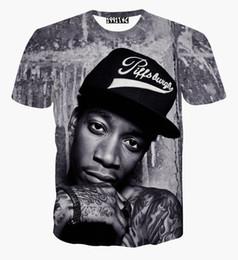 China 2018 New fashion men women 3D t shirt printed character portrait Wiz Khalifa Hip Hop rock singer punk tshirts summer tees clothes cheap new punk clothing suppliers