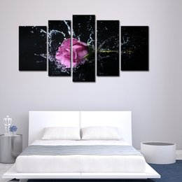 Discount pictures purple flowers for walls - 5 Panel Wall Art Purple Lavender Rose Splashing Into Water Painting The Picture Print On Canvas Flower Pictures For Home