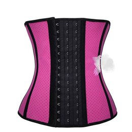 Corsés Al Por Mayor Del Amaestrador De La Cintura Del Látex Baratos-Venta al por mayor- Hot Body Shaper Women 9 Steel Boned Latex Waist Trainer Corset Transpirable Waist Slimming Corset Blet Gaine Amincissante Ventre
