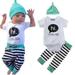 Hi Spring Canada - baby clothing set spring children's clothing suits 2017 summer hat+hi letter romper+stripe pant cute 3pcs girl boy clothing sets